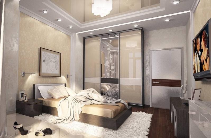 Дизайн спальни со шкафом в современном стиле