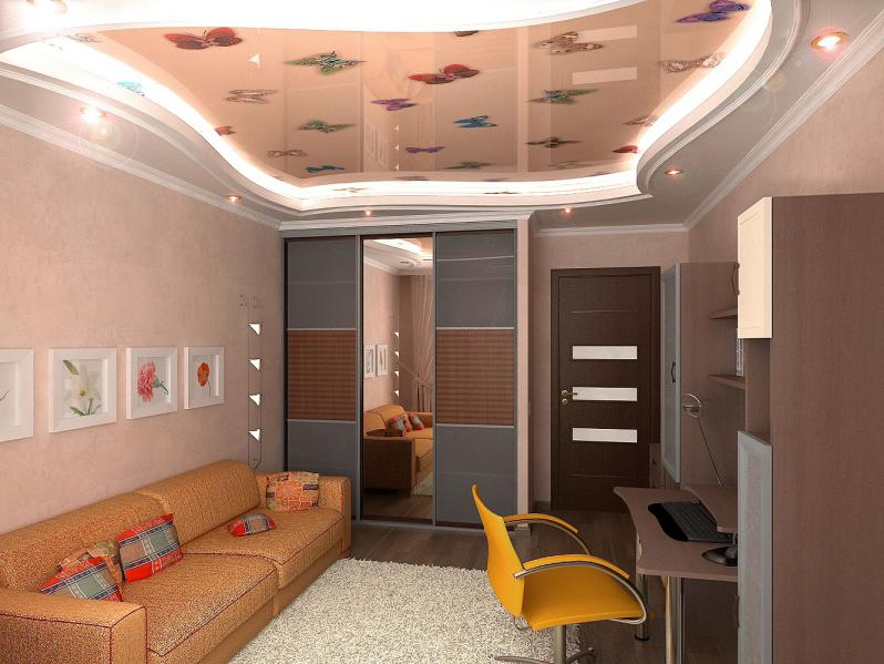 Дизайн двухуровневых натяжных потолков для гостиной дизайн