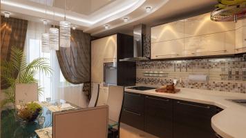 Натяжные потолки на кухне: варианты дизайна и фото примеров