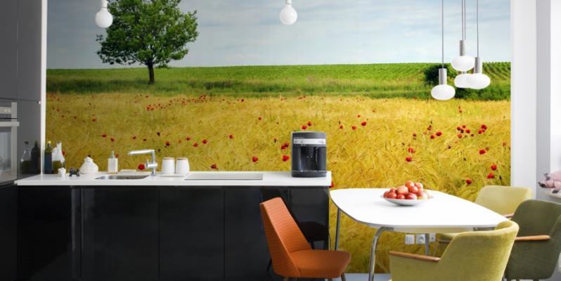 Фотообои на кухне: современные идеи и новинки