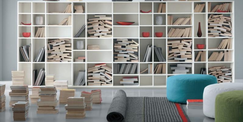 Книжные шкафы и библиотеки - Фото в интерьере
