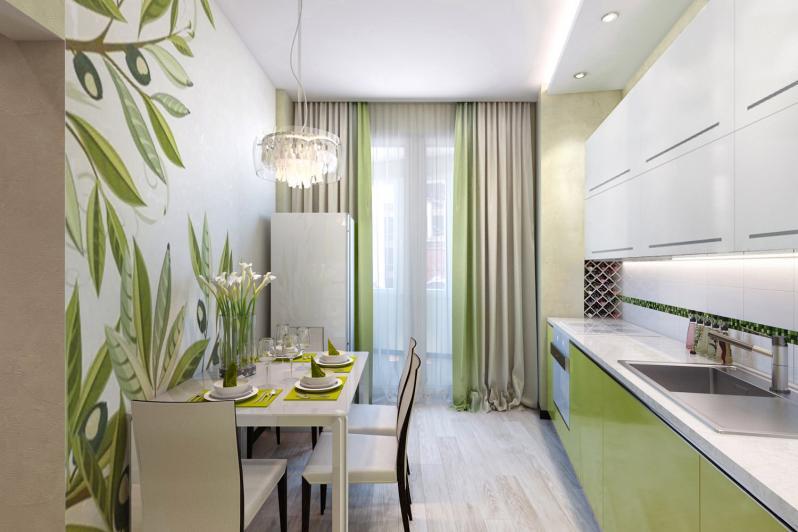 Бело-салатовая кухня фото