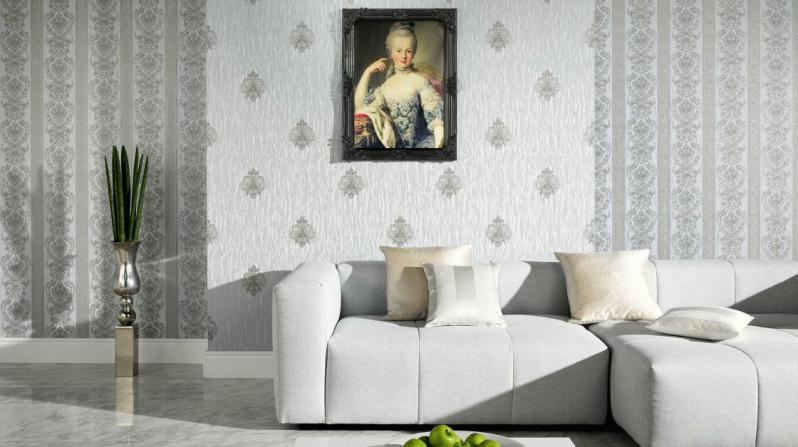 Фото в современном стиле интерьер спальни с обоями двух видов